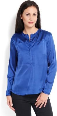 Tokyo Talkies Casual Full Sleeve Solid Women's Blue Top