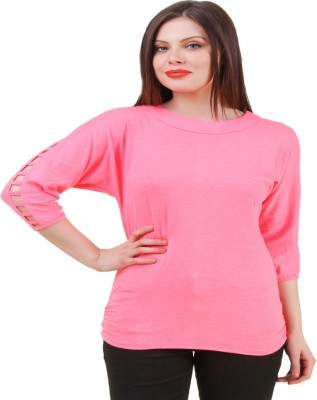 Komal Trading Co Wedding, Casual, Party 3/4 Sleeve Solid Girl's Pink Top