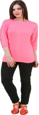 Komal Trading Co Wedding, Casual, Party 3/4 Sleeve Solid Women's Pink Top