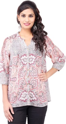 Pear Blossom Casual 3/4 Sleeve Printed Women's Multicolor Top