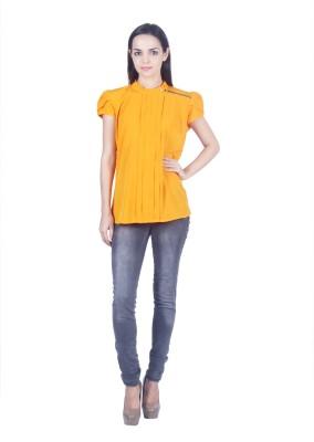 Jappshop Casual Short Sleeve Solid Women's Yellow Top