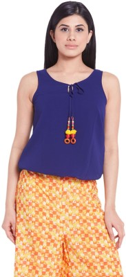 Globus Casual Sleeveless Solid Women's Blue Top