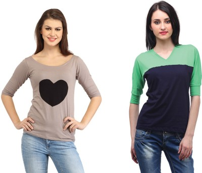 Cation Casual 3/4th Sleeve, Short Sleeve Solid Women's Black, Green Top at flipkart