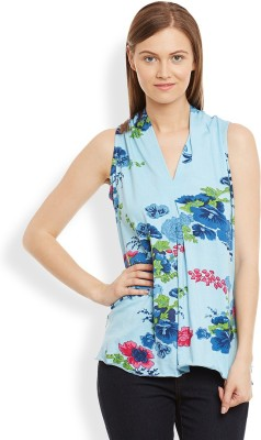 Anasazi Casual Sleeveless Printed Women's Blue Top