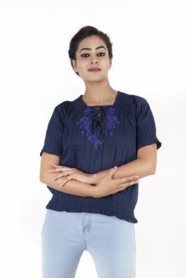Kashana Fashions Casual Short Sleeve Embroidered Women's Dark Blue Top