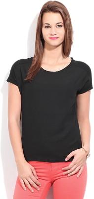 Van Heusen Casual Short Sleeve Solid Womens Black Top
