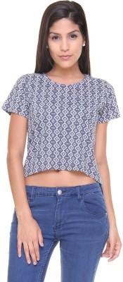 Alibi By Inmark Casual Short Sleeve Striped Women,s Dark Blue Top