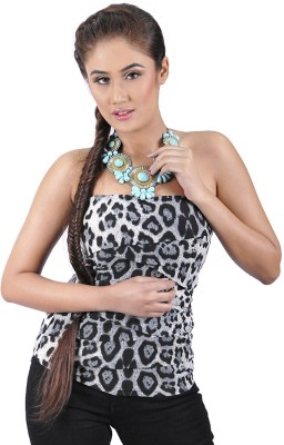 My Hollywood Shop Party Sleeveless Animal Print Women's Black Top
