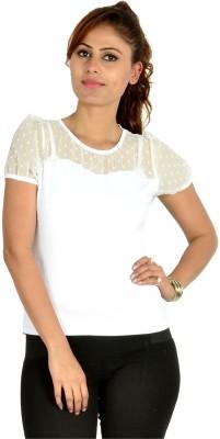 Designeez Casual Short Sleeve Solid Women's White Top