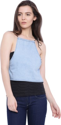 Blue Saint Casual Sleeveless Solid Women's Blue Top
