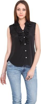 La Arista Casual Sleeveless Solid Women's Black Top
