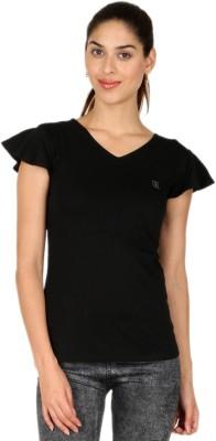 Adam n Eve Casual, Sports, Lounge Wear Short Sleeve Solid Women's Black Top