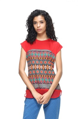 HANGNHOLD Casual Short Sleeve Printed Women's Red Top