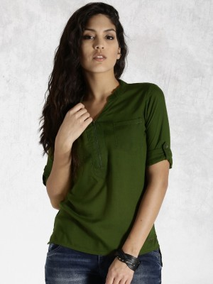 Roadster Casual 3/4 Sleeve Solid Women's Green Top