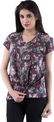 Aarr Casual Short Sleeve Floral Print Women's Grey Top