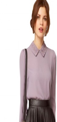 Fromycloset Casual Full Sleeve Self Design Women's Purple Top