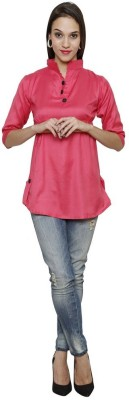 Sea Lion Casual 3/4 Sleeve Solid Women's Pink Top