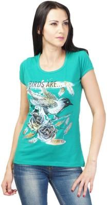 NEENUS Casual Short Sleeve Printed Girl's Green Top