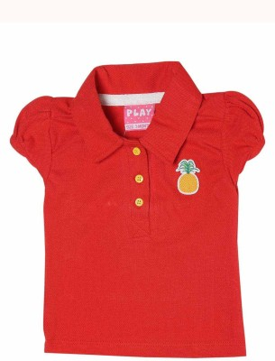 Little Kangaroo Casual Cap sleeve Solid Baby Girl's Red Top