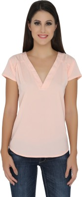 The Beach Company Casual Short Sleeve Solid Women's Orange Top
