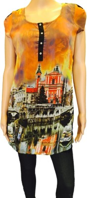 FASIION Casual Short Sleeve Graphic Print Women's Multicolor Top