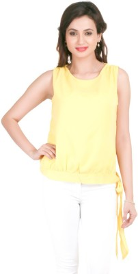 Big Tree Casual Sleeveless Solid Women's Yellow Top