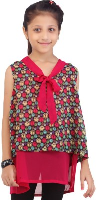 Life by Shoppers Stop Casual Sleeveless Self Design Girl's Pink Top