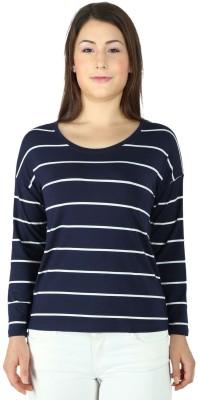 Tenn Casual Full Sleeve Striped Women's Dark Blue Top