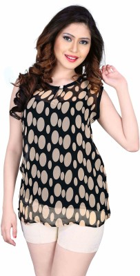 Aasvaa Casual Sleeveless Printed Women's Beige Top