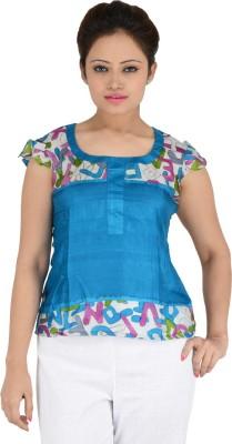 Vritti Casual Cape Sleeve Geometric Print Women's Blue Top