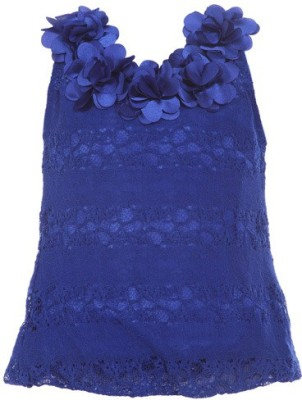 LEI CHIE Casual Sleeveless Self Design Girl's Blue Top