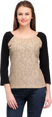 Colornext Casual 3/4 Sleeve Self Design Women,s Brown, Black Top