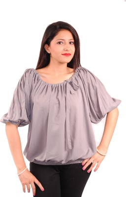 Natty India Casual Short Sleeve Solid Women's Grey Top