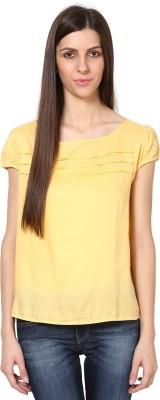 SHIBORI Casual Cap sleeve Solid Women's Yellow Top