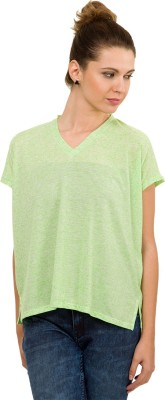 Tokyo Talkies Casual Short Sleeve Solid Women's Green Top
