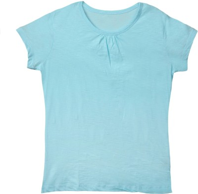 Ffashionstylus Casual Short Sleeve Solid Girl's Blue Top