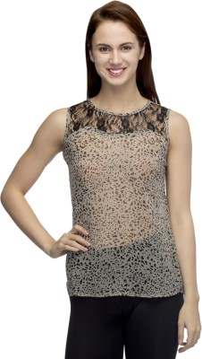 Primo Knot Casual Sleeveless Animal Print Women's Grey Top