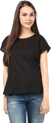 DESIGN HOUSE Casual Short Sleeve Solid Women's Black Top