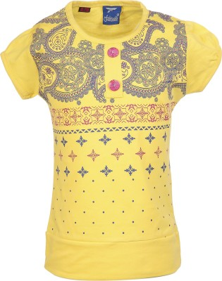 Fashionable Casual Short Sleeve Self Design Girl,s Yellow Top