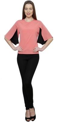 Gossip Girls Formal Cape Sleeve Solid Women,s Pink Top