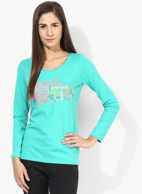 T-shirt Company Casual Full Sleeve Graphic Print Women's Green Top