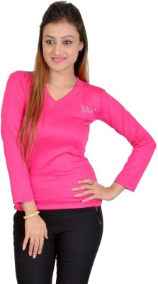 SWEEKASH Casual Full Sleeve Solid Women's Pink Top