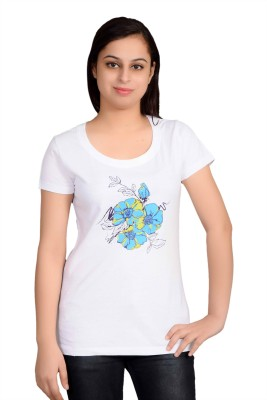 Parv Collections Casual Short Sleeve Printed Women's White Top