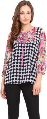 Instacrush Casual 3/4 Sleeve Checkered Women,s Multicolor Top
