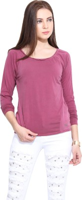 Hook & Eye Casual Full Sleeve Solid Women's Maroon Top