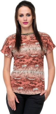 Milimoto Casual Short Sleeve Printed Women's Red, White Top