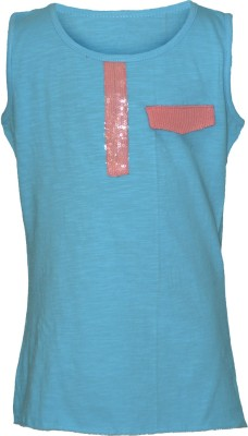 Cool Quotient Casual Sleeveless Solid Girl,s Light Blue Top