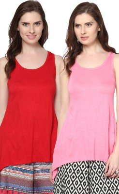 Trend18 Casual Sleeveless Solid Women's Red, Pink Top