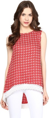 Citrine Casual Sleeveless Printed Women's Red, White Top