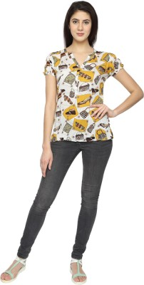 Texco Garments Casual Short Sleeve Printed Women's Yellow Top